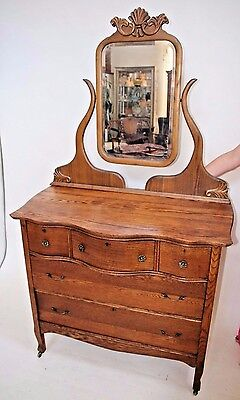 French Art Nouveau Dresser Vanity Beveled Mirror five drawers one Locking drawer