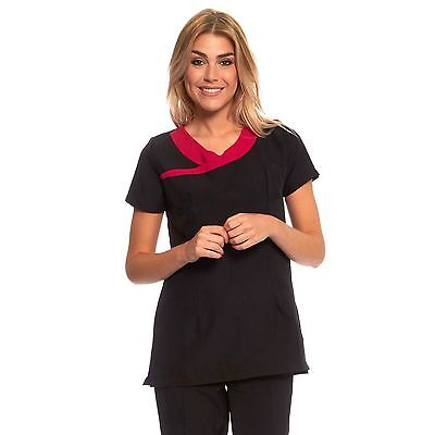 Tunic Beauty Massage Hairdressing Uniform in Black and in Black Pink Neck