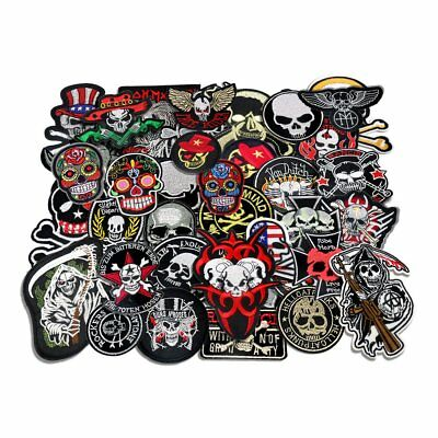 Embroided Skull And Bones Iron On Patch Biker Motorcycle Patches Vintage Lot VTG