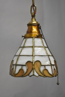Antique Leaded Slag Glass  & Brass Single Socket Porch / Hall Pendant