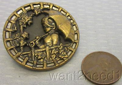 """Victorian mixed metal brass LADY GIRL WITH UMBRELLA PICTURE BUTTON large 1.5"""""""