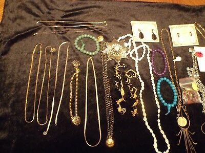Lot Of Vintage Estate Costume Jewelry Chains Necklaces Earrings Toe Sandals OLD