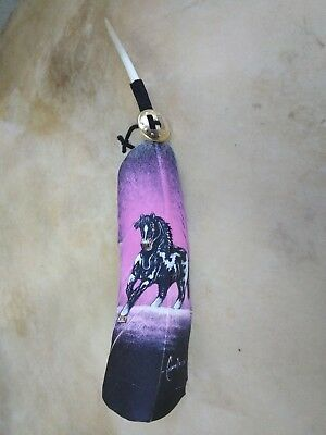 Hand painted feather ,  PINTO HORSE   , ARTS & CRAFTS ,  SOUTHWEST ART , SIGNED