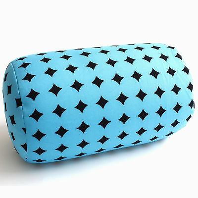 Micro Bead Roll Cushion Neck Head Support Travel Pillow Home Office Bed Blue Dot