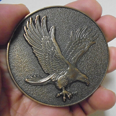 """High Relief Attacking Eagle Medallion 1990 USA Made Metal Uniface Medal 2.5"""" E54"""