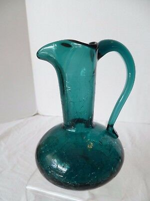 """1960's Mid-Century Modern Teal Blue Green Crackle Glass Pitcher 5.5"""" tall"""