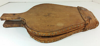 Vintage Wood Wooden Fireplace Bellows Riveted Leather