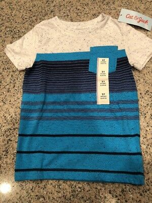 Cat and Jack Toddler Boys Striped Tee Shirt Size 2T Blue Short Sleeve