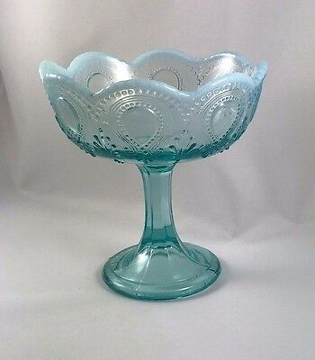 Vintage Footed Jelly Compote Scroll with Acanthus Turquoise Blue Opalescent