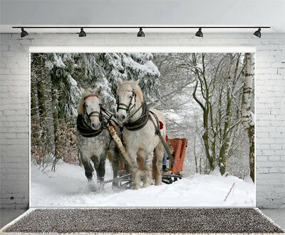 7x5ft Winter Forest White Horse Vinyl Photography Backdrop Background Studio Pro