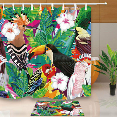 Tropical bird and palm leaves Shower Curtain Bathroom Fabric & 12hooks 71*71inch