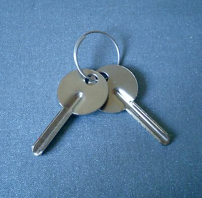 2 Vintage Small Silver Keys - Uncut with Cut Out Hole & on Key Ring