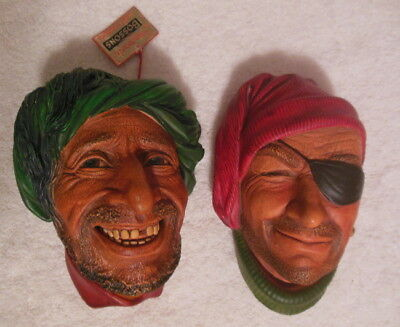 (2) Bossons Handpainted Chalkware Heads Wall Ornaments