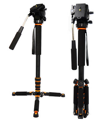 Professional Camera Aluminum Monopod Fluid Video Head with Mini tripod base