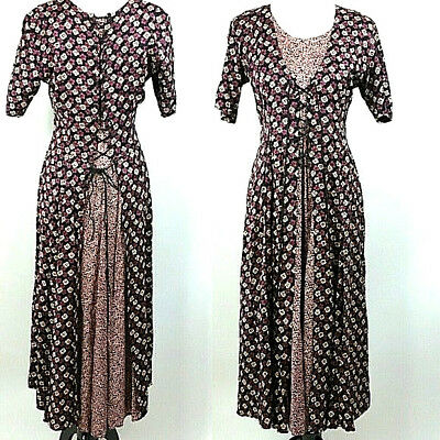 Starina vintage lace up front dress tulip back M Floral 90s Maxi Full Length