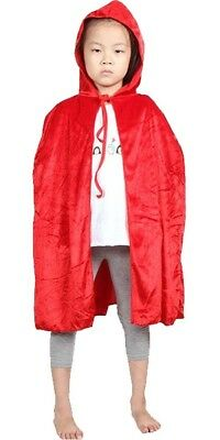 Children Kids Cosplay Hooded Cloak Cape Role Play Costumes Party Birthday Red