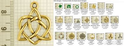 Celtic & 4-leaf clover decorative fobs, various designs & watch chain options
