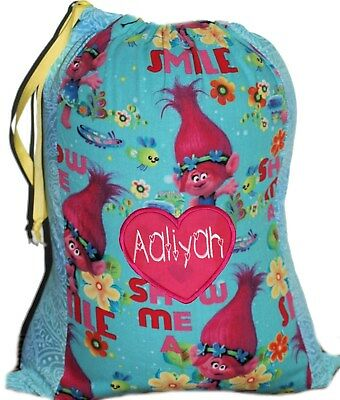 Personalised drawstring library bag - Trolls two tone - SMALL