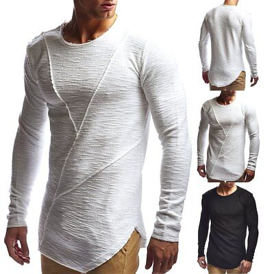 Fashion Men Casual O-Neck Long Sleeve Muscle Tee T-shirt Slim Fitted Blouse Tops