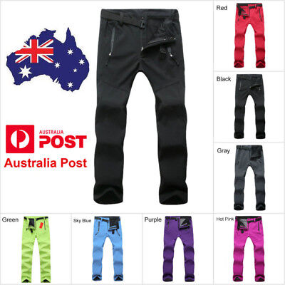 Women Soft Shell Outdoor Pants Windproof Hiking Camping Ski Snowboard Trousers