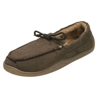 Mens Spot On Moccasin Faux Fur Lined Slippers 577453