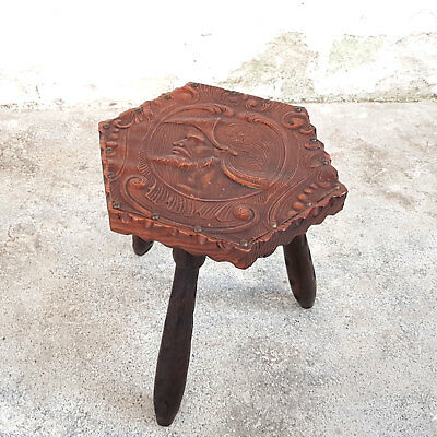 Embossed Leather Carved Wood 3 Legged Milking Stool (Antique Reproduction)