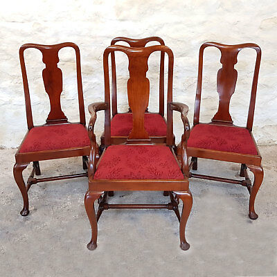 Victorian Queen Anne Set of 4 Mahogany Dining Chairs & Carver C1880 (Antique)