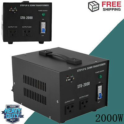 2000W Step Up and Down Electrical Power Voltage Converter Transformer Heavy Duty