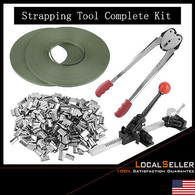 STRAPPING TOOL Complete Kit + Metal Seals + Poly Strap Banding Roll Supply Set