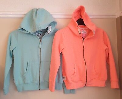 Next girls hoodie zip front tracksuit tops. Age 9-10. Coral pink and mint green