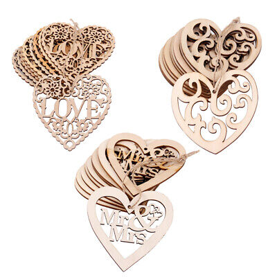 10X Wooden Shape Love Heart MR MRS Wedding Hanging Decor Craft Embellishment DIY