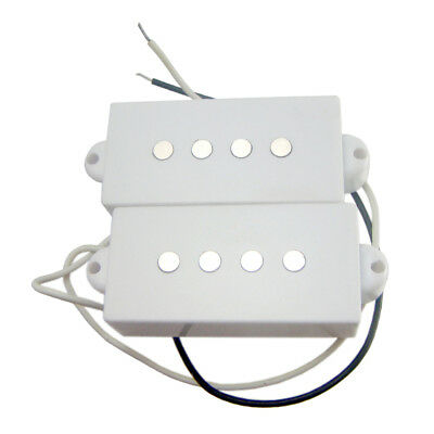 Magnetic Single Coil Humbucker Pickup Set Whitefor 4-String PB Electric Bass