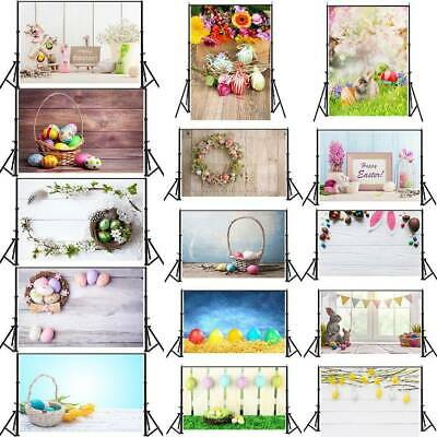 Easter Day Photography Background Colorful Egg Rabbit Printed Kid Photo Backdrop