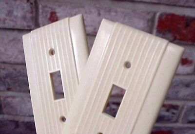 Vintage Ivory Single Toggle Switch Wall Plate Cover Ribbed Bakelite Pair (2)