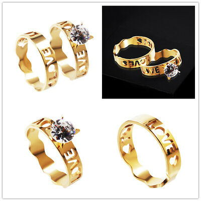 Wholesale Lots 20Set=40X Love Cubic Zirconia Stainless Steel 18K Gold Rings Gift