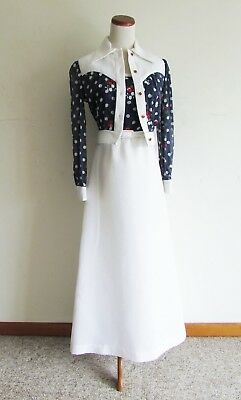 Vtg 60s 70s Red White and Blue Polka Dot Maxi Dress with Matching Crop Jacket