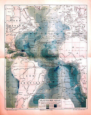 1902 Original Geoographical.Map.OCEANO ATLANTICO- ATLANTISCHER OZEAN.Meyers
