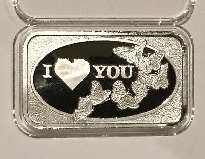 I Love You & Butterflies Collectible Rare Bar 1 Troy Oz .999 Fine Silver Ingot