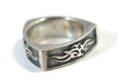"""D369 Triangle Recessed enamel Band Ring Sterling 925 Ring 1/4""""w size 7 1/2"""