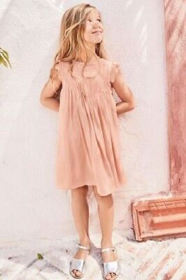 BNWT NEXT Girls Dusty Pink Pintuck Party Dress 7-8 Years RRP £34