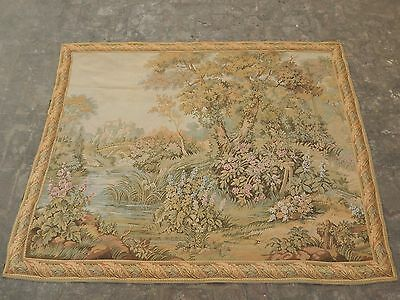 Large Vintage French Beautiful Verdure Scene Tapestry 188x147cm (A1030)