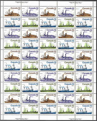 Canada Stamps — Full Pane of 50  — 1976, Inland Vessels #700-703 (A) — MNH