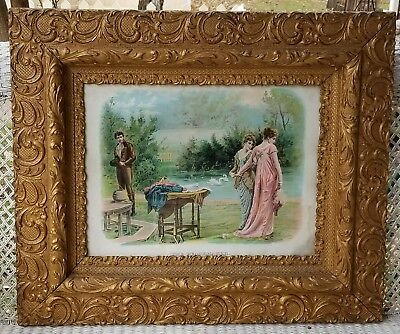 Antique Victorian Ornate Wood Picture Frame Large 31x26 w/Print The Peacemaker