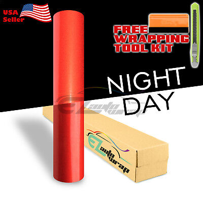 "*12""x48"" Reflective Red Vinyl Wrap Sticker Decal Graphic Sign Car Adhesive Film"