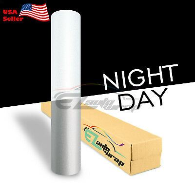 "4""x8"" Sample Reflective White Vinyl Wrap Sticker Decal Graphic Sign Adhesive"
