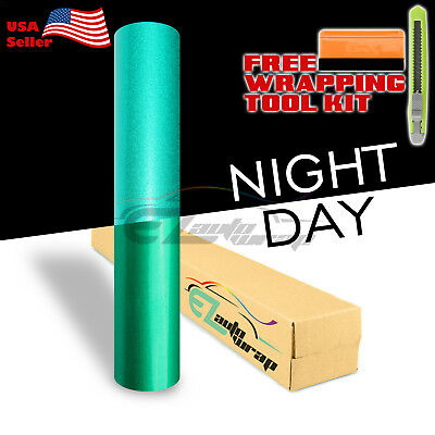 "*12""x48"" Reflective Green Vinyl Wrap Sticker Decal Graphic Sign Adhesive Film"