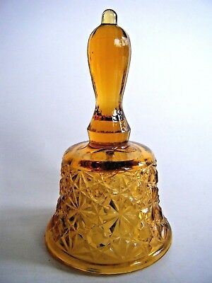 Mosser Daisy & Button Amber Glass Bell Marked