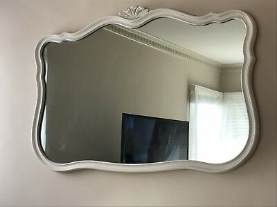Shabby Chic French Country Cottage Vintage Large White Mirror Chic Elegant