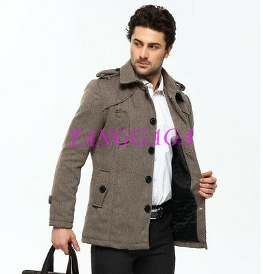 Mens Wool Blend Jacket Single Breasted Overcoat Slim Fit Lapel Short Trench Coat