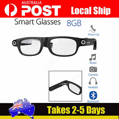 Bluetooth 4.0 Smart Glasses Phone Call Music Camera Headset Alarm Fr iOS Android